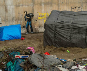 Banksy's mural of Steve Jobs at the Calais 'jungle' camp