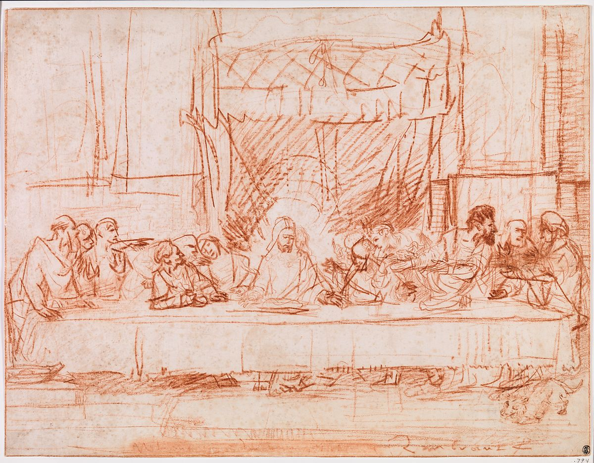 Rembrandt van Rijn, drawing of The Last Supper after Leonardo da Vinci