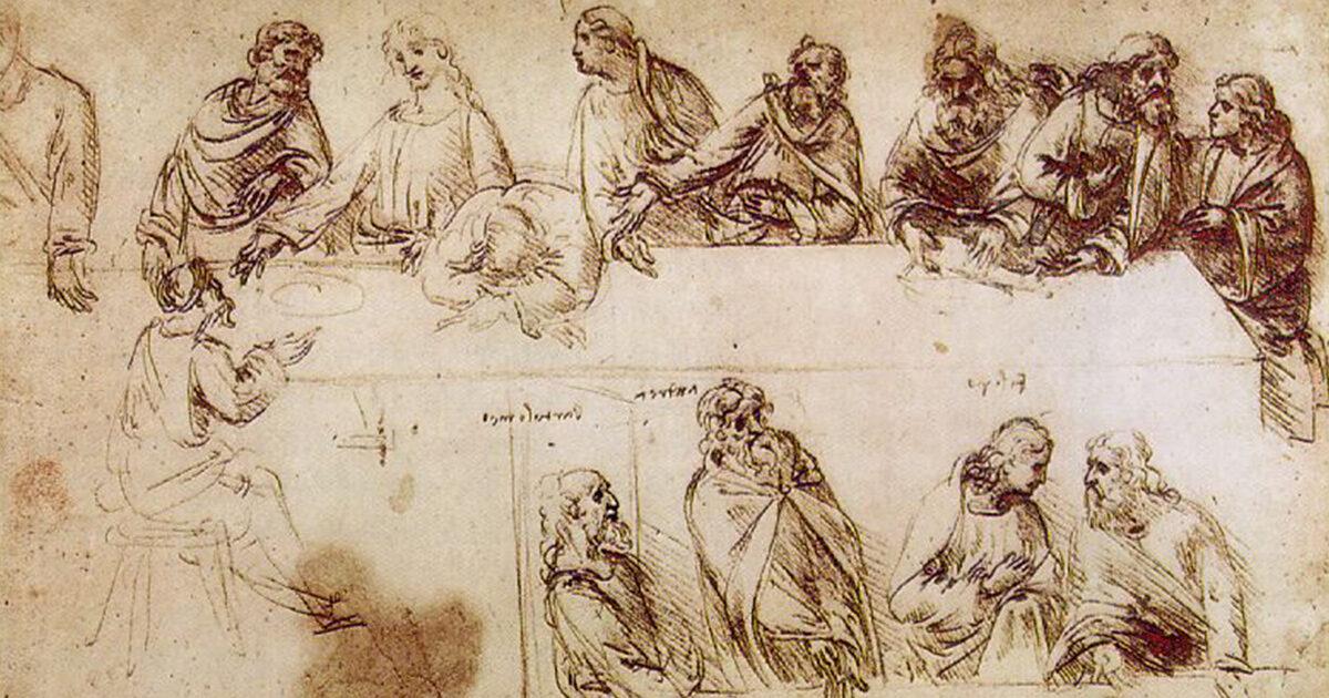 Study sketch, Last Supper, Leonardo Da Vinci