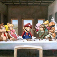 Last Supper scene with Nintendo game characters