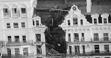 Damage after the bomb as seen from a helicopter.