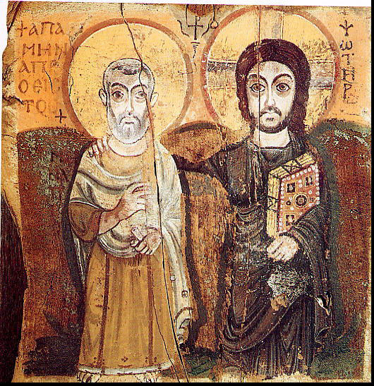 Christ and Saint Mina. 6th-century icon from Bawit, Egypt