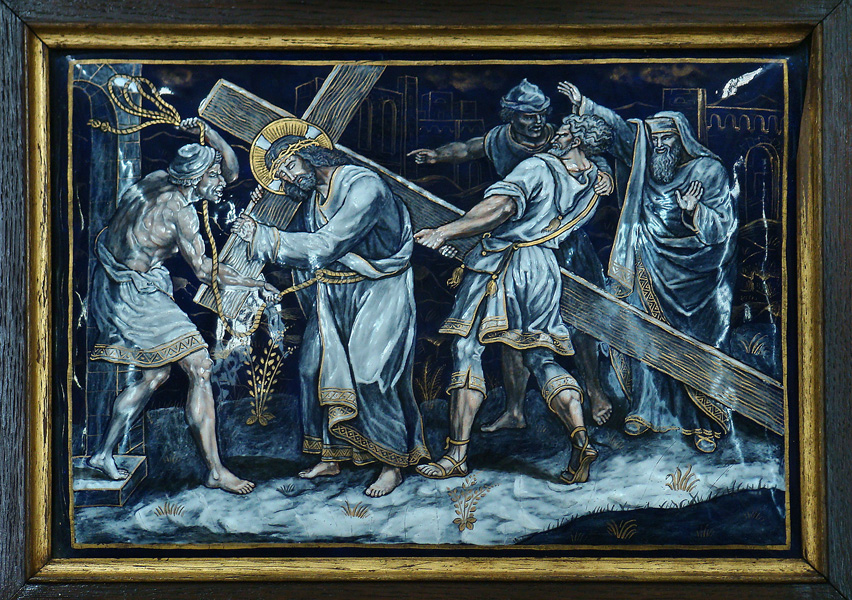 FIFTH STATION: Jesus is helped by Simon the Cyrene to carry his Cross