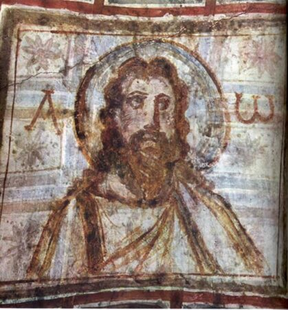 Mural painting from the catacomb of Commodilla. One of the first bearded images of Jesus, late 4th century