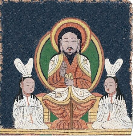 Reconstruction of the enthroned Jesus image on a Manichaean temple banner from ca. 10th-century Qocho (East Central Asia)