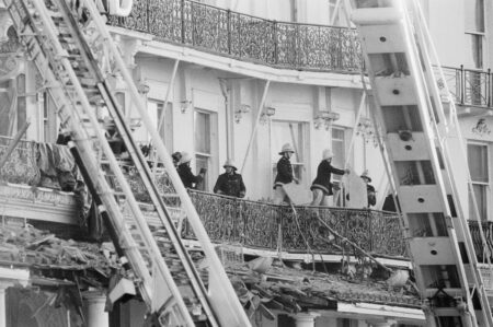 Rescue workers after the bomb in the Grand Hotel in Brighton