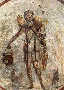 Close on Jesus as the Good Shepherd. Ceiling - S. Callisto catacomb
